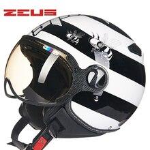 Casco Retro de motociclismo TAIWEN ZEUS motociclismo media máscara casco de Moto rbike 210C casco de moto