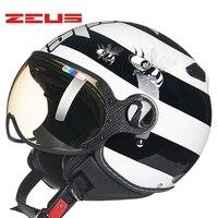 TAIWEN ZEUS Xe Máy Mũ Bảo Hiểm Retro Vintage xe máy nửa khuôn mặt mũ bảo hiểm Xe Máy Mũ Bảo Hiểm 210C casque Moto cho harley