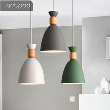 Artpad Nordic Pendant Light Metal Lampshade E27 LED Dining Room Hanging Lamp for Hotal Restaurant Bar Living Room Lighting Decor artpad nordic multi color ceiling pendant lamp two three heads e27 metal lamp shade led dining room modern pendant light fixture