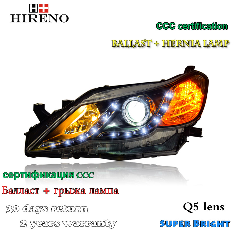 Hireno Headlamp for 2010-2013 Toyota REIZ MARK X Headlight Assembly LED DRL Angel Lens Double Beam HID Xenon 2pcs