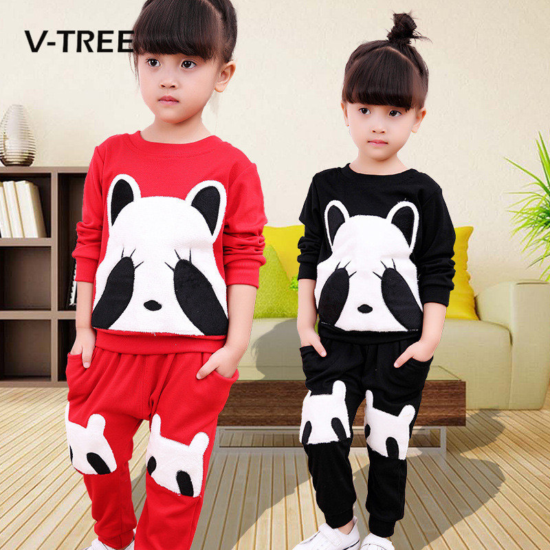 V-TREE Spring Autumn Baby Girls Clothing Sets Fashion Panda Style Clothing Sets For Girls Kids Children Baby Suit Sets Clothes