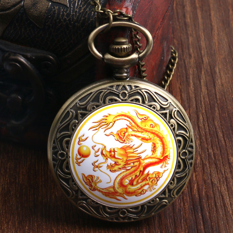 Antique Chinese Golden Dragon Fly Bronze Poclet Wacth High Quality Fob Watch With Chain Necklace Best Gift