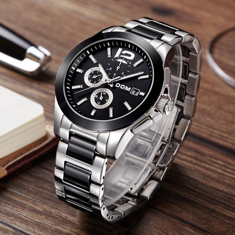 Mannen horloge business herenhorloge Mechanische automatische staal keramische man horloge DOM merk horloges waterdichte heren klok