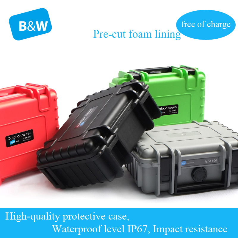 B&W type500 Tool case toolbox Impact resistant waterproof protective camera case 20*14*80cm security equipment with pre-cut foam