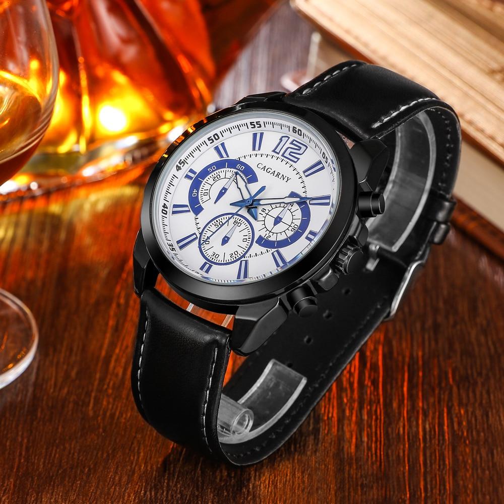 quartz wristwatches leather strap sports watches casual mens wrist watch black case (2)