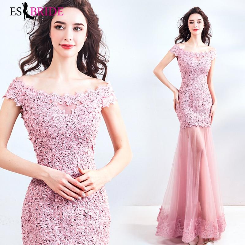 Pink Mermaid Vestidos De Fiesta De Noche Long Elegant Princess   Evening     Dress   Robe De Soiree   Evening     Dresses     Evening   Gown ES2021
