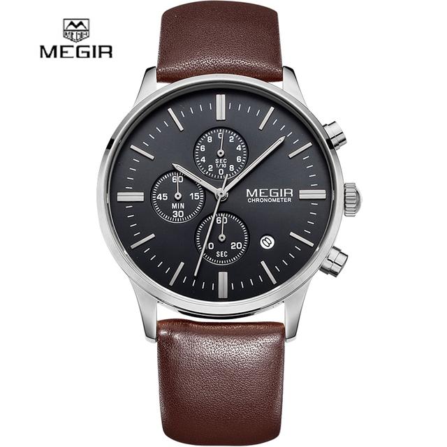 2016 nuevo estilo militar MEGIR marca cronógrafo hombres reloj deportivo de cuero de diseño de moda de lujo de negocios reloj de pulsera de regalo