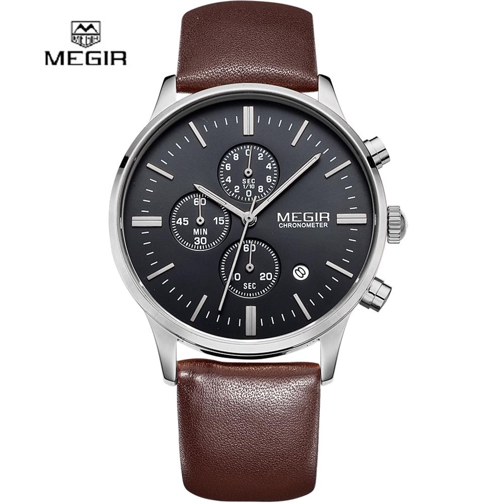 Prix pour Casual new militaire élégant megir marque design de mode chronographe hommes mâle horloge sport en cuir d'affaires de luxe montre-bracelet cadeau