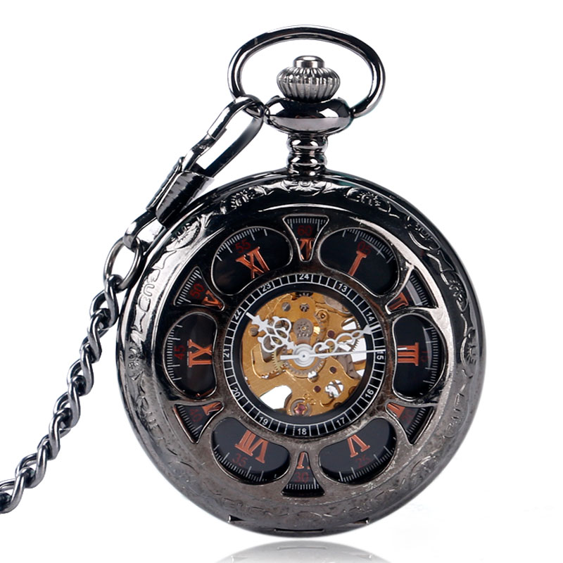 Hollow Flower Case Mechanical Wind Up Black Pocket Watch Hand Winding Stewampunk Fob Pendant Nurse Watches Stylish