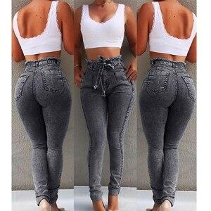 Image 2 - High Waist Jeans For Women Slim Stretch Denim Jean Bodycon Tassel Belt Bandage Skinny Push Up mom jeans ladies boyfriend jeans
