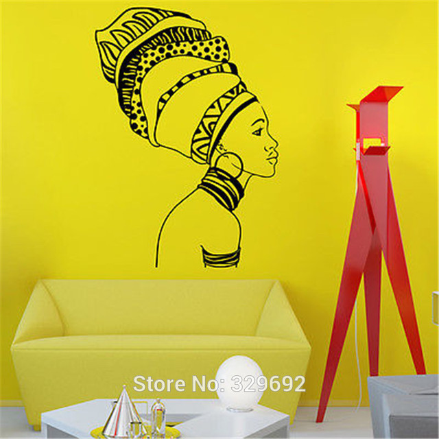 African Girl Silhouette Africa Wall Art Sticker Decal Home DIY ...
