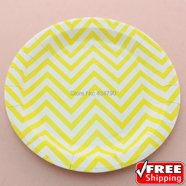 60pcs 9\  Yellow Chevron Round Holiday Paper Plates Zig ZagCheap Party Cake Dessert & 60pcs 9\