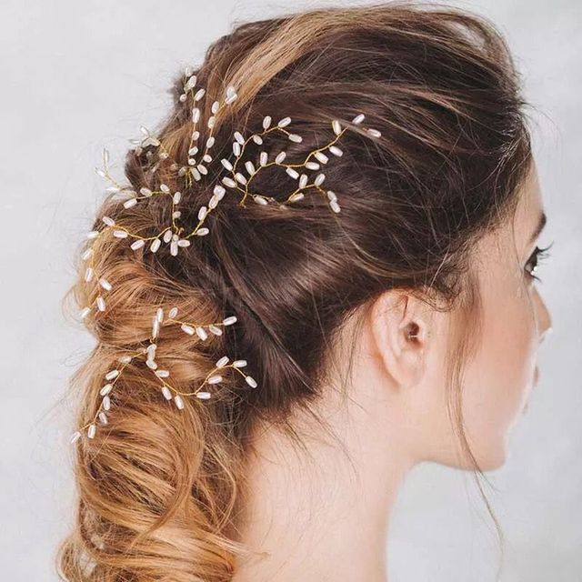 1pcs Gold Crystal Metal Hair Pins 2