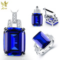 ANGG 9.4 ct Fashion 925 Sterling Sliver Jewelry Set Ring Earrings Necklace Women Square Created Sapphire Engagement Jewelry Set