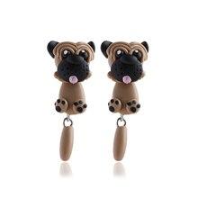 1 Pair Fashion New Handmade Polymer Clay Cute Dogs Puppy Earrings Women Animal Ear Stud Jewelry