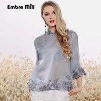 Women's blouse shirt spring and summer runway new retro folk embroidery silk organza ladies gray shirt flare sleeve top S XXL