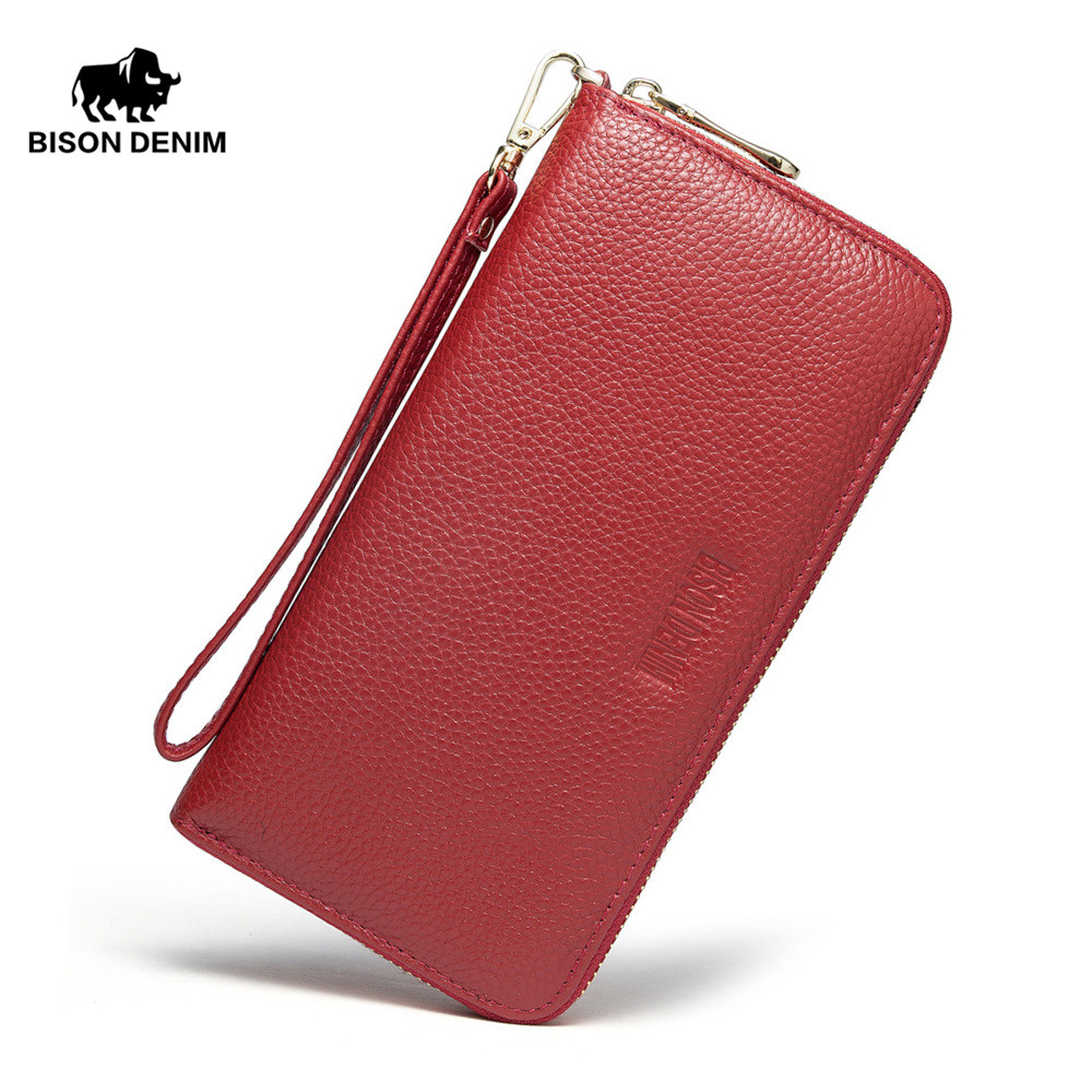 Bison Denim 2018 Genuine Cow Leather Women long wallet Casual Zipper Female Purse N3271