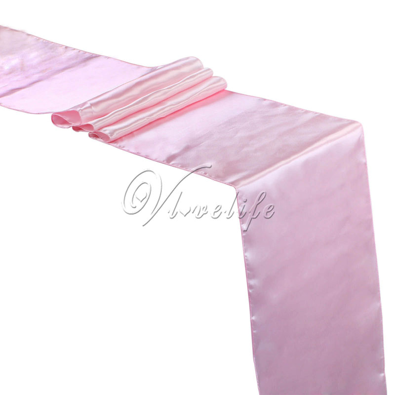 Free Shipping New Baby Pink Satin Table Runner 12