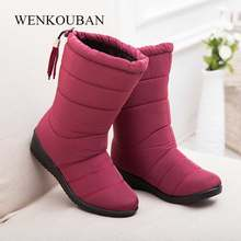 c8b53d8d1b47d Winter Shoes Women Mid Calf Boots Fashion Rain Boots for Woman Winter Snow  Boots Waterproof Rubber Botas Warm Suede Botas Mujer