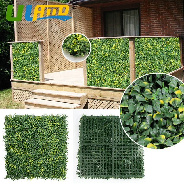 ULAND Artificial Boxwood Hedges 25x25cm/pc Synthetic Privacy Wall ...