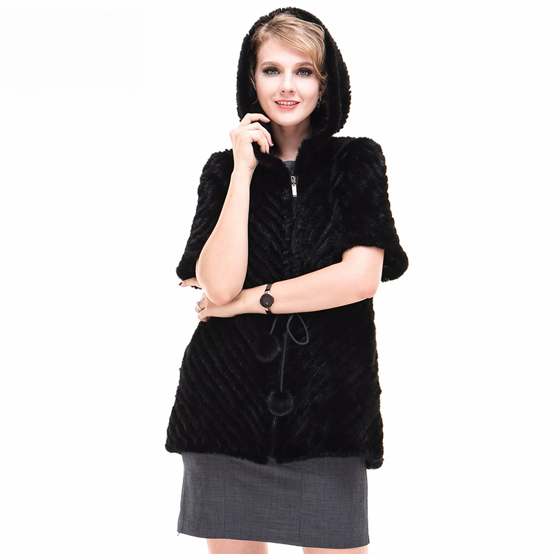 Luxury Autumn Winter Women's Real Mink Fur Coat Lady Warm Jacket Half Sleeve Outerwear Plus Size 4XL 5XLVF7062