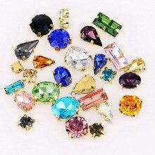 Стразы смешанных цветов, стразы для шитья, стекло, кристалл с золотым когтем, стразы, алмазные камни, сделай сам, украшение для свадебного платья