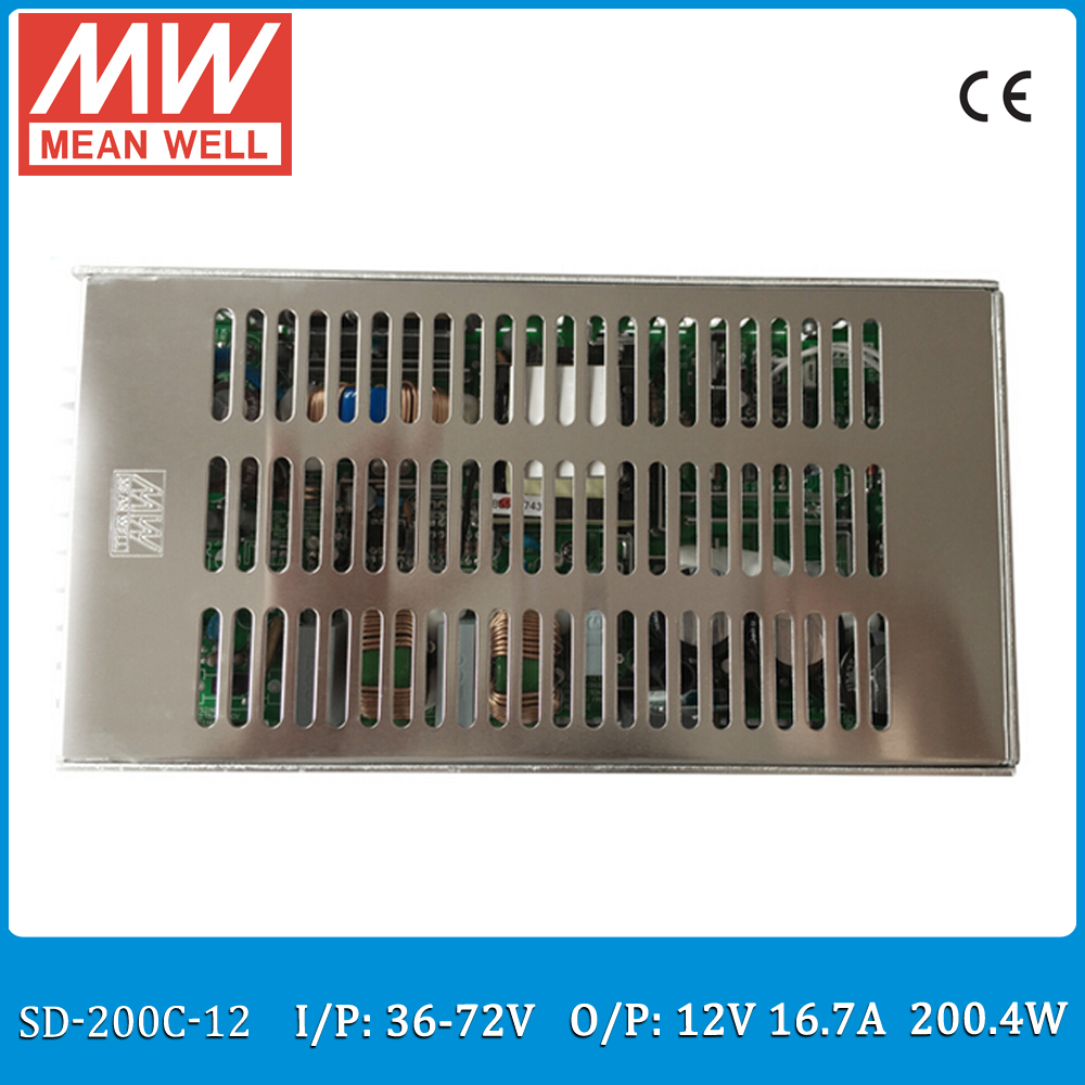 Original MEAN WELL SD-200C-12 Single Output 200W 16.7A 12VDC Input 36~72VDC meanwell dc/dc 12V converter цена