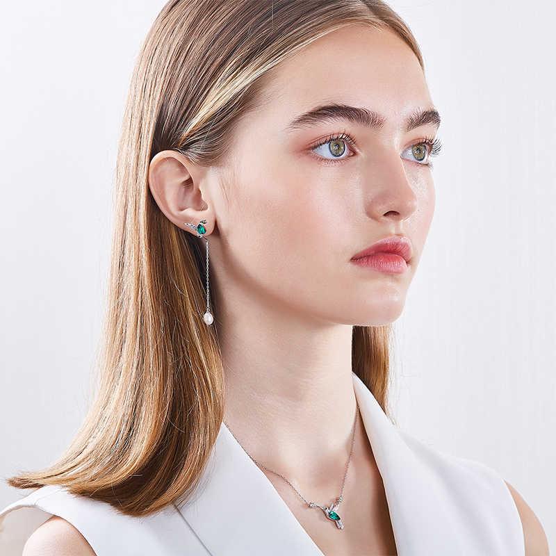 CDE Schmuck Set Silber mit kristallen Verziert 925 Sterling Silber Halskette Ohrringe Set Tier Schmuck Frauen