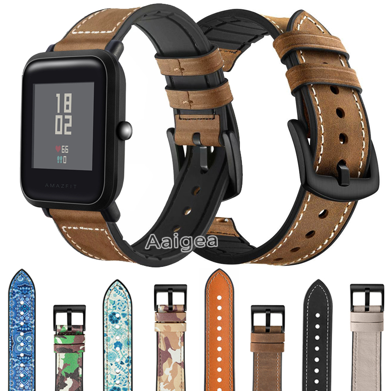 Genuine Leather Silicone Watch Band Strap For Xiaomi Huami Amazfit Bip Lite Replacement Wrist Band Strap 20mm Leather Bracelet