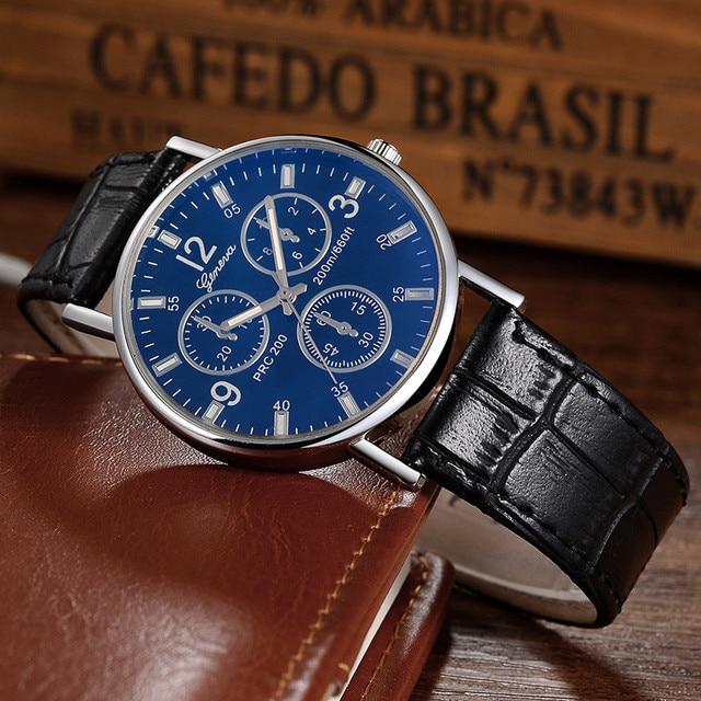 watch 2017 relogio masculino men clock erkek kol saati Retro Design Leather Band