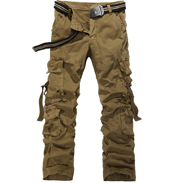 Venta caliente de Los Hombres Europeos y Americanos estilo loose gran tamaño multi-bolsillo overoles de algodón pantalones largos de Carga de Los Hombres del Pantalón Militar