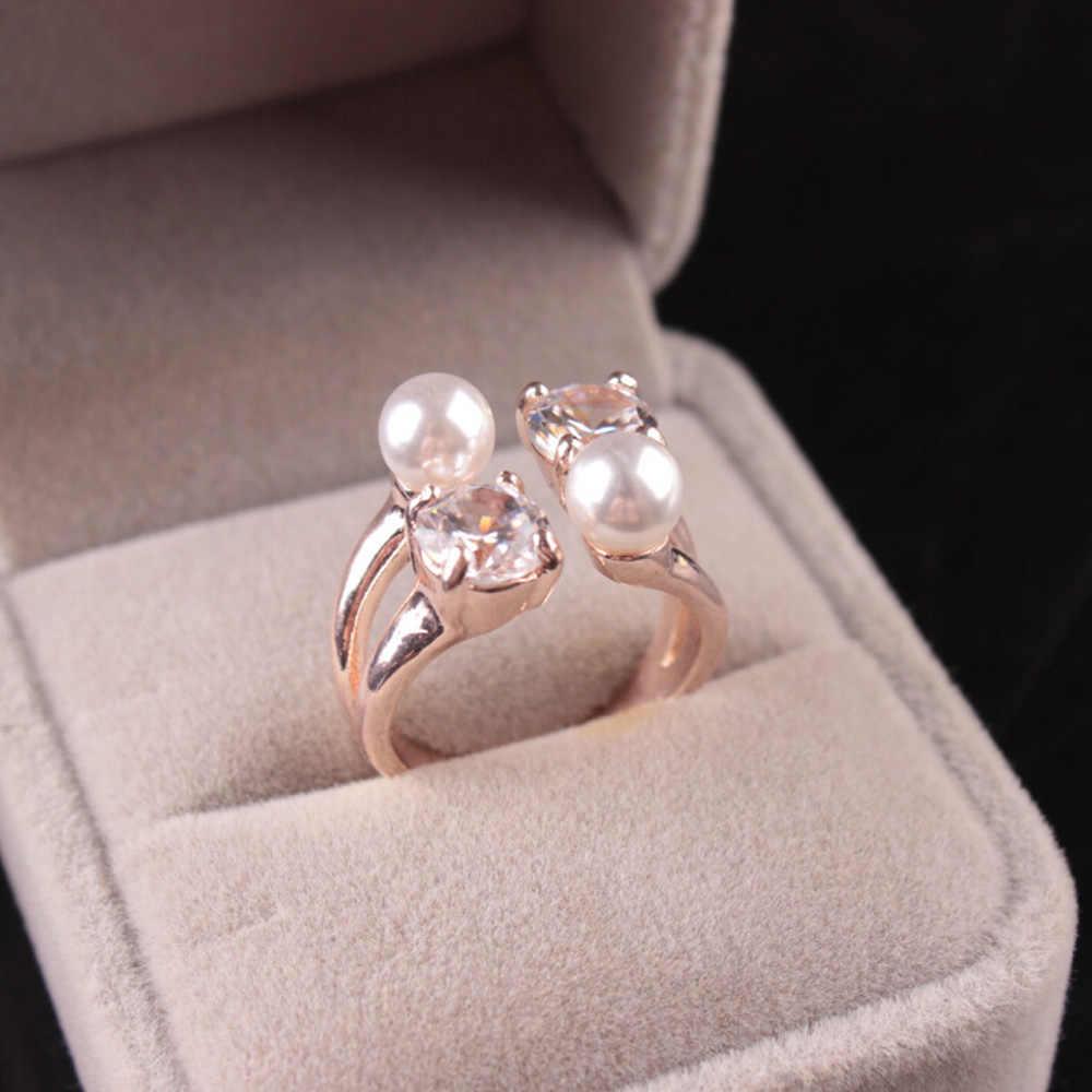 แฟชั่นเลดี้เปิดแหวนไข่มุกเพทายแหวนของขวัญวันแม่ขายส่งใหม่ Rose Gold/Silver