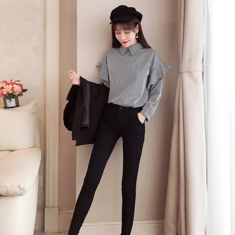 Gagarich 2019 Spring Women Two Piece Set New Fashion Marquee Temperament Fashion Female Plaid Shirt & Black Vest 10