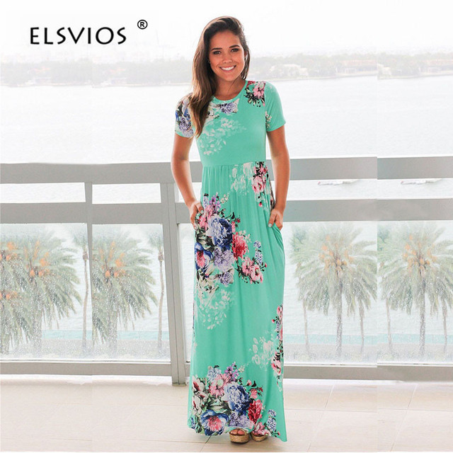 ELSVIOS Women Bohemia Floral Print Summer Dress Casual Short Sleeve O Neck Beach Boho Long Dress Loose Maxi Dresses Vestido