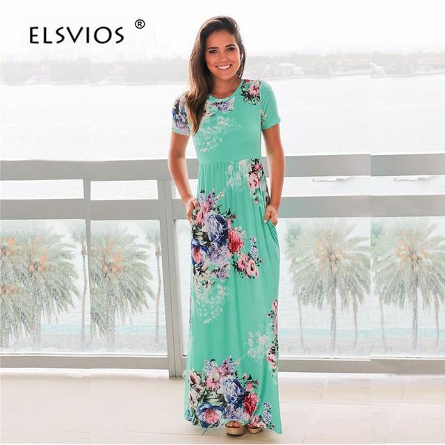 ELSVIOS Women Bohemia Floral Print Summer Dress 2018 Casual Short Sleeve O Neck Beach Boho Long Dress Loose Maxi Dresses Vestido