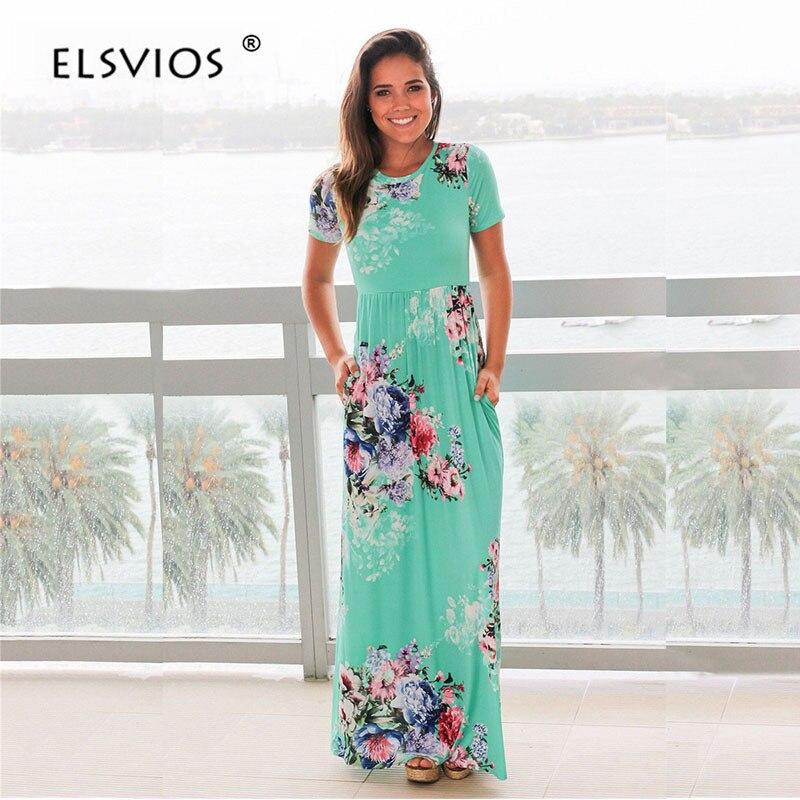 ELSVIOS mujer Bohemia impresión Floral vestido de verano vestido Casual 2018 manga corta cuello playa Boho vestido Maxi vestidos vestido