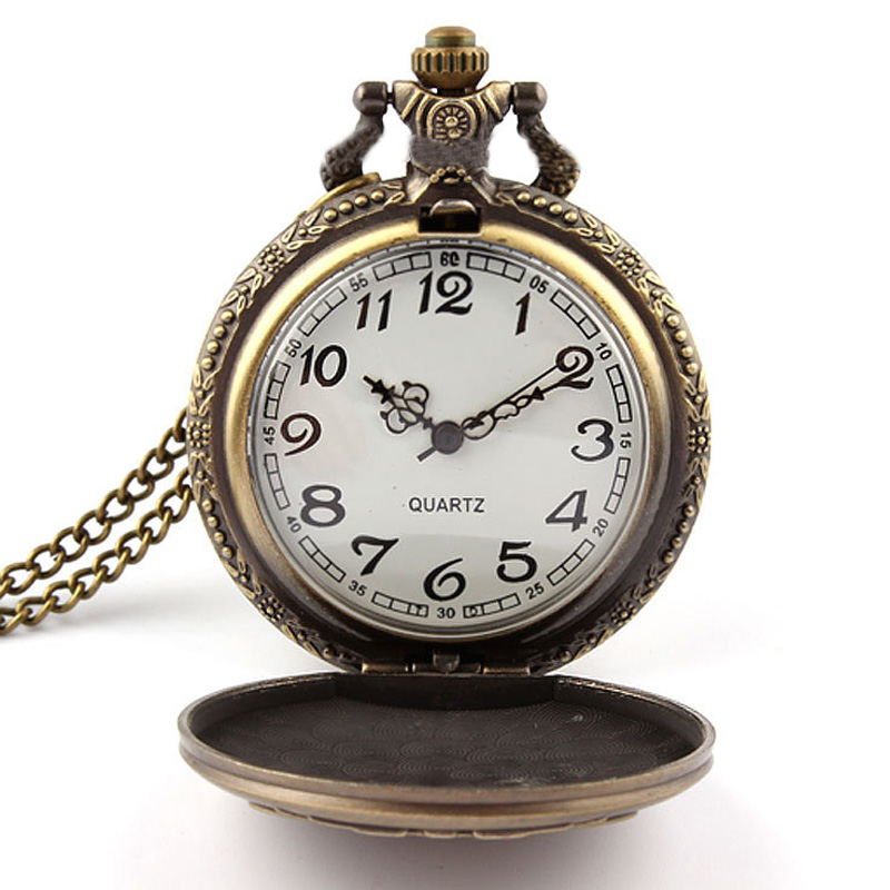 Retro Vintage Locomotive Railway Engine Pendant Chain Clock Pocket Watch Pocket Watch Gifts 88 LXH old antique bronze doctor who theme quartz pendant pocket watch with chain necklace free shipping