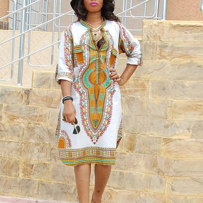 2018 New Women Ethnic Printed Short Dress Half Sleeve V-neck Slim Fit Elastic Dress WML99