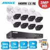 ANNKE Full HD 8CH 1920 1536 CCTV System 8pcs 3MP Security Camera IR Night Vision Outdoor