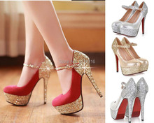 2016 spring new fashion strappy thin high heels platform wedding buckle pumps sexy glitter party ankle