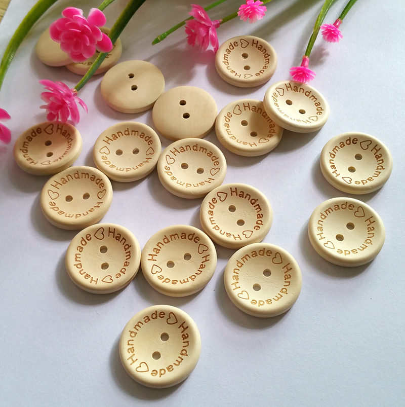 30 pcs 25mm Round Handmade Natural wooden Buttons Scrapbooking Craft Sewing Buttons for clothes supplies