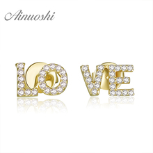 купить AINUOSHI 18K White Gold /Yellow Gold /Rose Gold Natural Diamond Earrings LOVE Letters Diamond Jewelry for Women Stud Earrings по цене 21843.7 рублей