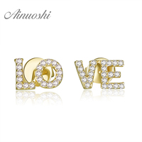 AINUOSHI 18K White Gold /Yellow Gold /Rose Gold Natural Diamond Earrings LOVE Letters Diamond Jewelry for Women Stud Earrings