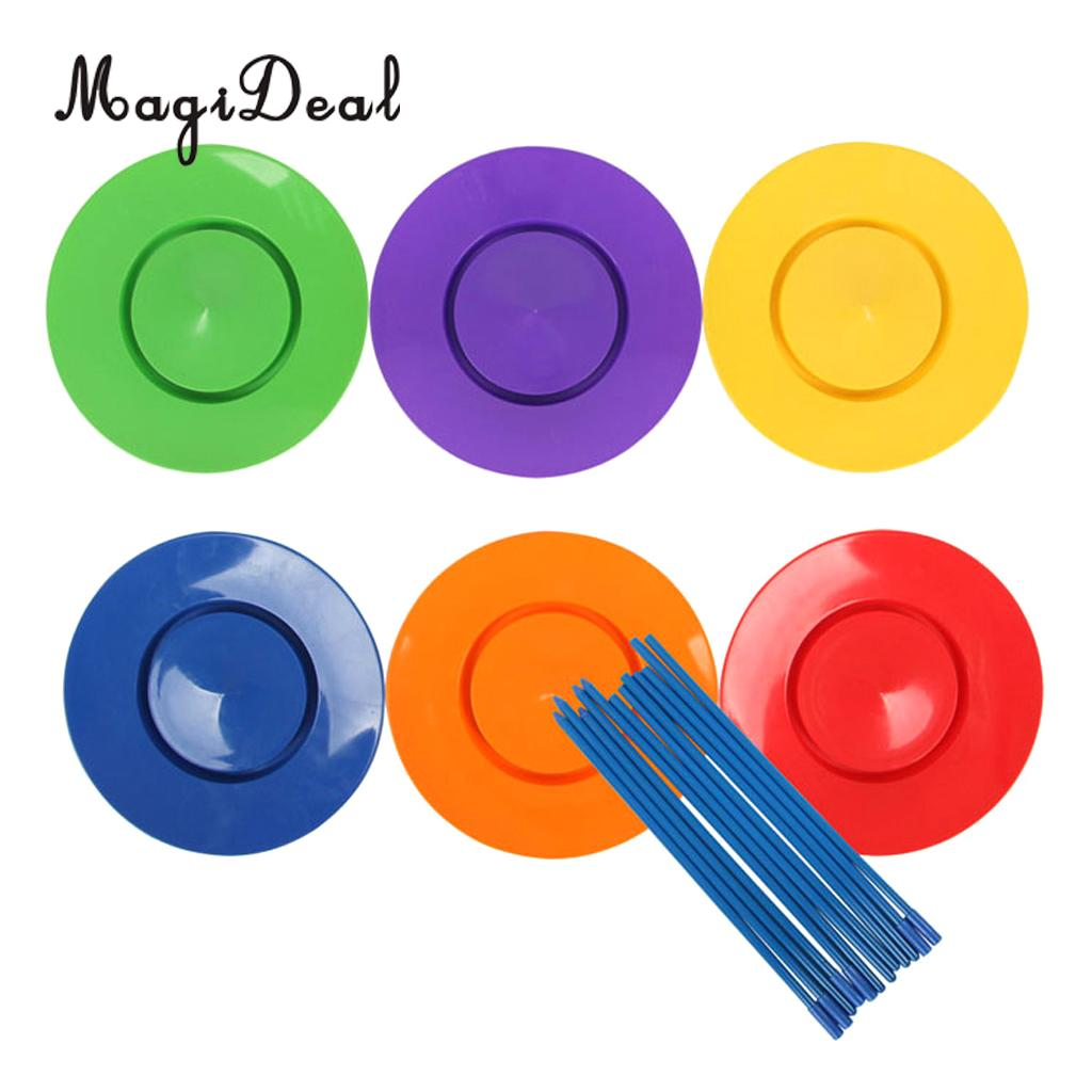 MagiDeal 6 Set Spinning Plates Sticks Clown Juggling Kids Balance Toy Magic Trick for Juggling Performance Stage Props Young Old