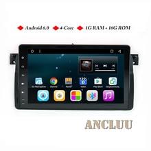 Ancluu Android 6,0 9 pulgadas Quad Core GPS navegación táctil completa reproductor de DVD del coche para BMW E46 M3 95-05 3 Serie con BT/RDS/Radio