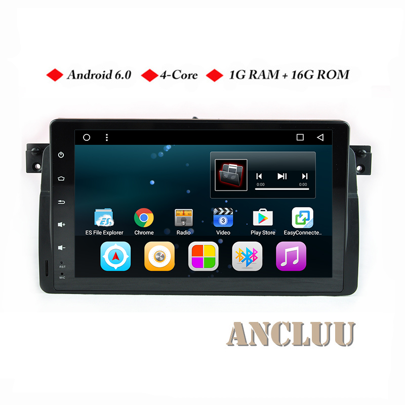 Ancluu Android 6.0 Quad Core GPS Navigation 9 Inch Full Touch Car DVD player for BMW E46 M3 95-05 3 Series with BT/RDS/Radio