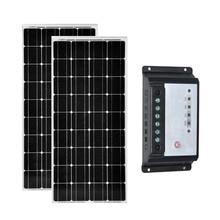 лучшая цена Solar Panel Travel  12v 100w 2 PCs Solar Monocrystalline Panels 200W 24v Solar Charge Controller 12v/24v 20A Motorhome Caravan