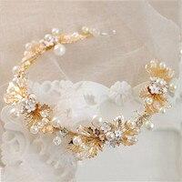 Luksusowe Perły Ślubne Bridal Hairband Nakrycia Głowy Łańcucha Kobiety Korowód Prom Złota Pozostawia Biżuteria Do Włosów Akcesoria Ślubne