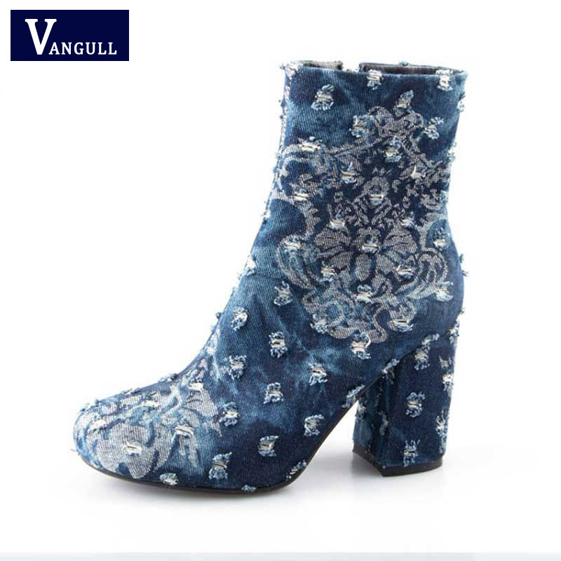 Women s Ankle Boots Female Spring Autumn Zipper Shoes Square Chunky High Heel Ladies Round Toe