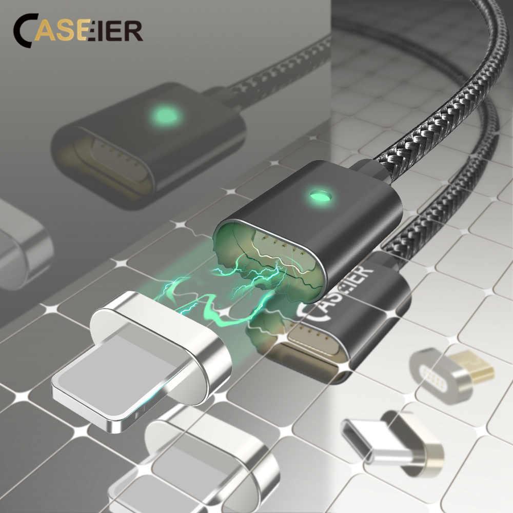 CASEIER 1 متر المغناطيسي كابل ل فون X 8 7 6 زائد البيانات مايكرو كابل Usb و USB نوع C كابل المغناطيس سريع شاحن كابل نوع-C